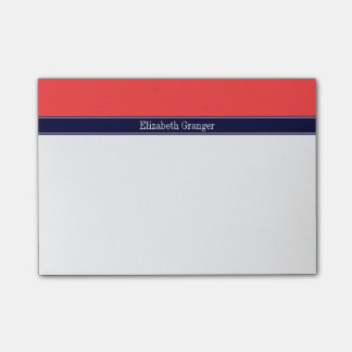 Solid Coral Red, Navy Blue Ribbon Name Monogram Post-it Notes