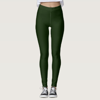 Solid Dark Green accent back Pink Daisy Leggings