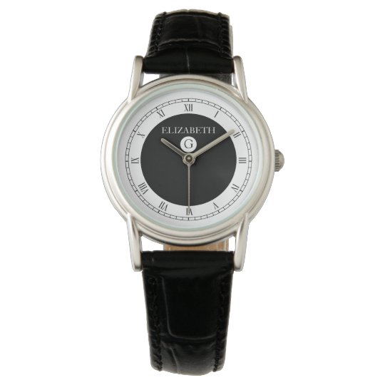 Solid Elegant Black and White Watch