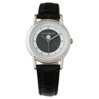 Solid Elegant Black and White Wristwatch