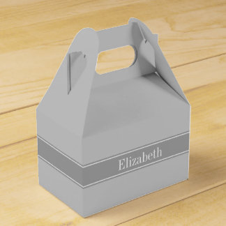 Solid Gray, Dark Gray Ribbon Name Monogram Favor Box