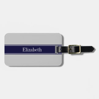 Solid Gray Navy Blue Ribbon Name Monogram Luggage Tag
