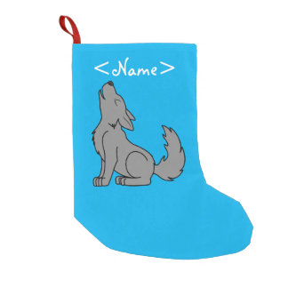 Solid Gray Wolf Pup Howling Small Christmas Stocking