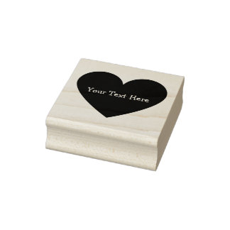 Solid Heart Customizable Rubber Art Stamp
