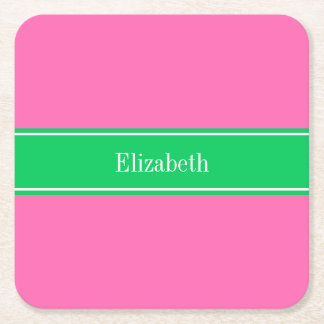 Solid Hot Pink #2 Emerald Green Rbn Name Monogram Square Paper Coaster