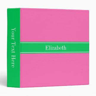 Solid Hot Pink #2 Emerald Green Rbn Name Monogram Vinyl Binder