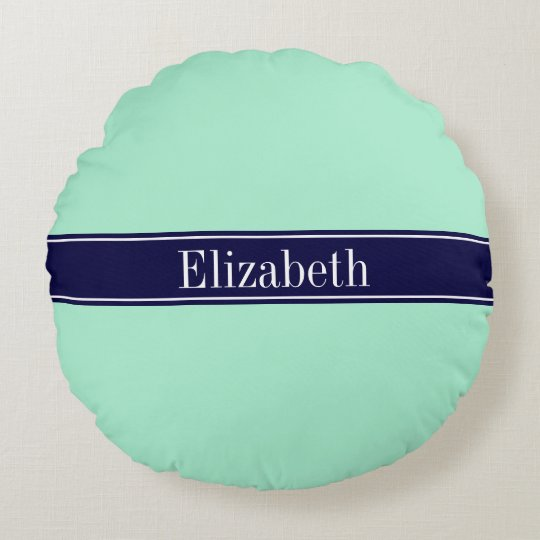 Solid Light Mint, Navy Blue Ribbon Name Monogram Round Pillow