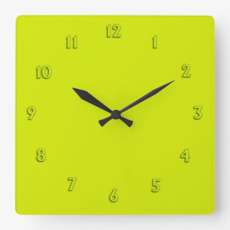 Solid Lime Green with Lime Numbers Square Wall Clock