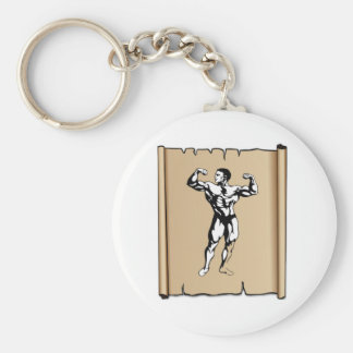 solid male basic round button keychain