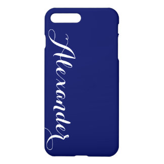 Solid Navy Blue Background, Name Monogram iPhone 8 Plus/7 Plus Case