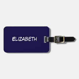 Solid Navy Blue Blue Background, Name Monogram Luggage Tag