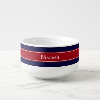 Solid Navy Blue Cranberry Red Ribbon Name Monogram Soup Mug