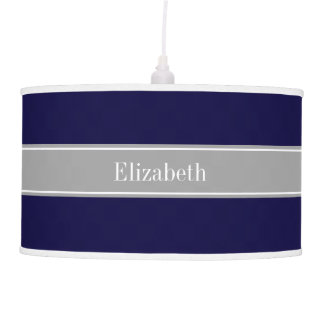 Solid Navy Blue, Dark Gray Ribbon Name Monogram Pendant Lamp