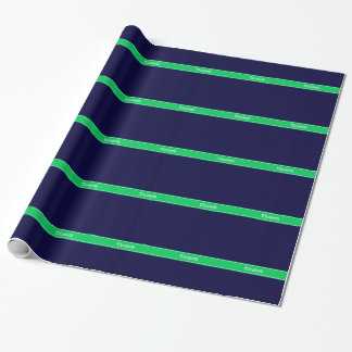 Solid Navy Blue Emerald Green Ribbon Name Monogram Wrapping Paper