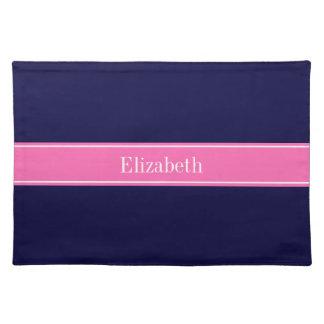 Solid Navy Blue Hot Pink #2 Ribbon Name Monogram Place Mats