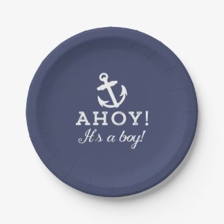 Solid Navy Blue Nautical Baby Shower Paper Plates