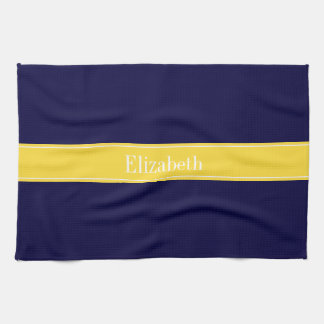 Solid Navy Blue, Pineapple Ribbon Name Monogram Kitchen Towel
