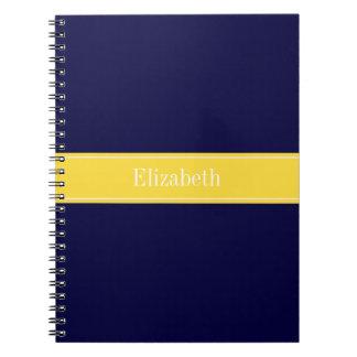 Solid Navy Blue, Pineapple Ribbon Name Monogram Spiral Notebook
