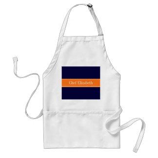 Solid Navy Blue, Pumpkin Ribbon Name Monogram Standard Apron