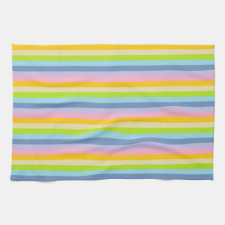 Solid Pastel Rainbow Stripes Kitchen Towel