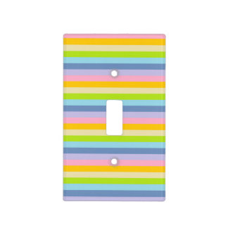 Solid Pastel Rainbow Stripes Light Switch Cover