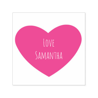 Solid Pink Heart with Personalized Text Self-inking Stamp