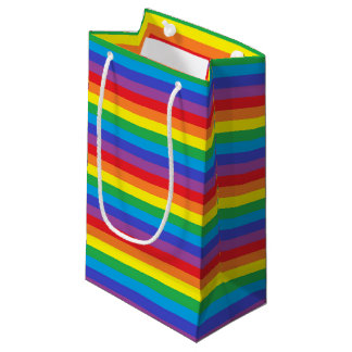 Solid Rainbow Stripes Small Gift Bag