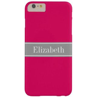 Solid Raspberry, Dark Gray Ribbon Name Monogram Barely There iPhone 6 Plus Case