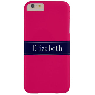 Solid Raspberry, Navy Blue Ribbon Name Monogram Barely There iPhone 6 Plus Case