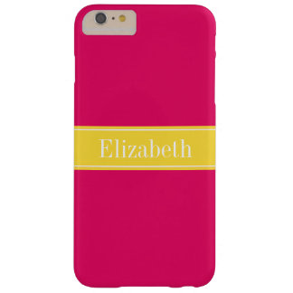 Solid Raspberry, Pineapple Ribbon Name Monogram Barely There iPhone 6 Plus Case