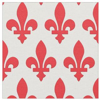 Solid red fleur-de-lis fabric