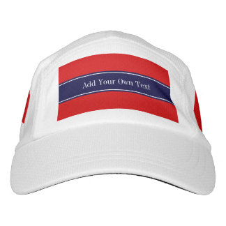 Solid Red, Navy Blue Ribbon Name Monogram Headsweats Hat