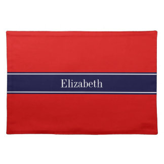 Solid Red, Navy Blue Ribbon Name Monogram Place Mat