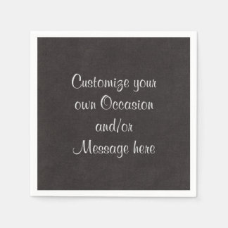 Solid Soft Black Customize with your Occasion Paper Napkin