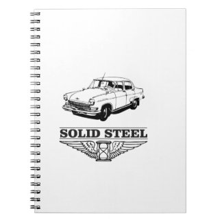 solid steel car white note books