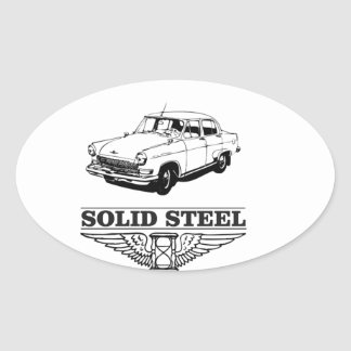 solid steel car white oval sticker