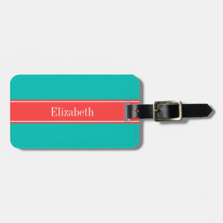 Solid Teal, Coral Red Ribbon Name Monogram Luggage Tag