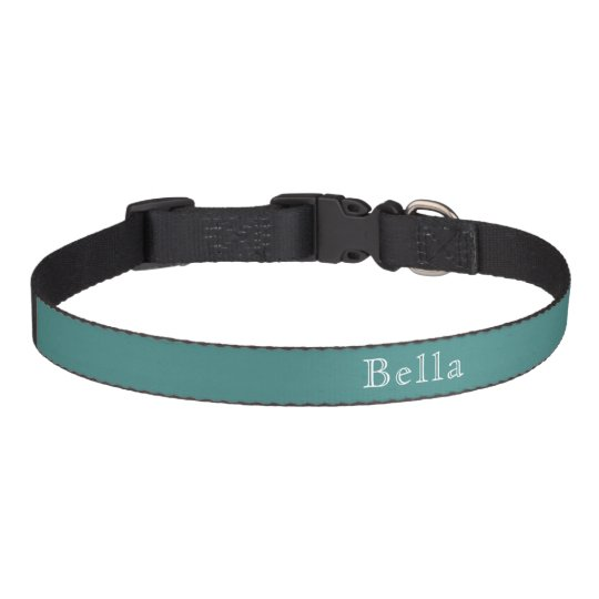 Solid Teal White Lettering Custom Name Minimalist Pet Collar