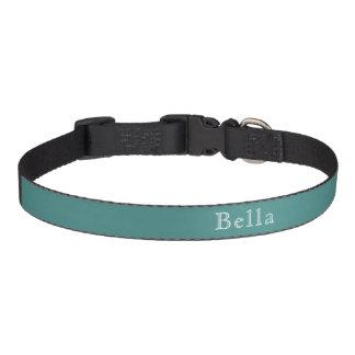 Solid Teal White Lettering Custom Name Minimalist Pet Collars