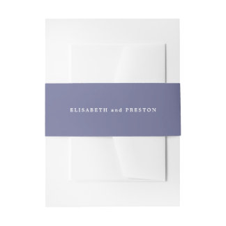 Solid Violet Purple Personalized Wedding Invitation Belly Band