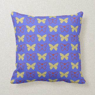Solid Yellow And Red Outline Butterflies Throw Pillow