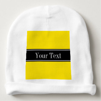 Solid Yellow, Black Ribbon Name Monogram Baby Beanie