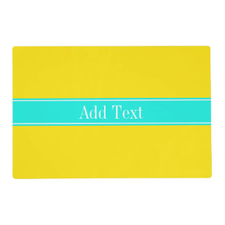 Solid Yellow, Bright Aqua Ribbon Name Monogram Laminated Place Mat