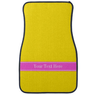 Solid Yellow, Hot Pink Ribbon Name Monogram Car Mat