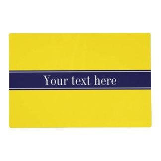 Solid Yellow, Navy Blue Ribbon Name Monogram Laminated Place Mat