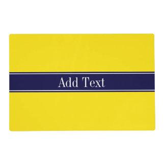 Solid Yellow, Navy Blue Ribbon Name Monogram Laminated Placemat