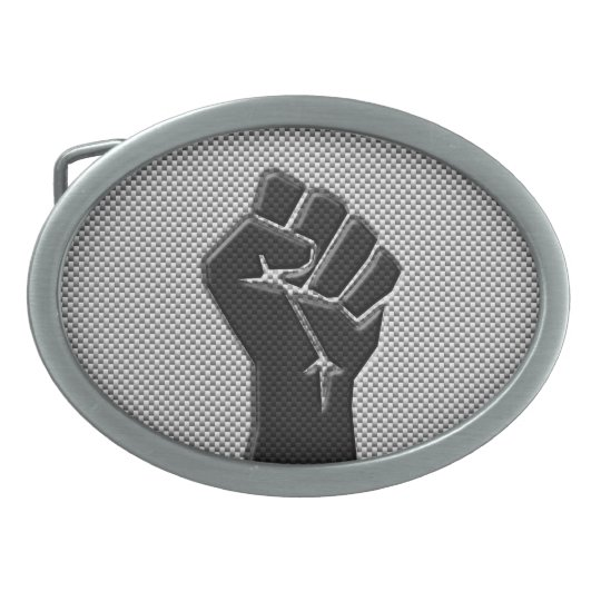 Solidarity Fist in Carbon Fibre Style Oval Belt Buckles