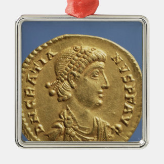 Solidus  of Gratian  draped Silver-Colored Square Ornament
