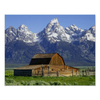 Solitary Barn at Grand Tetons Poster