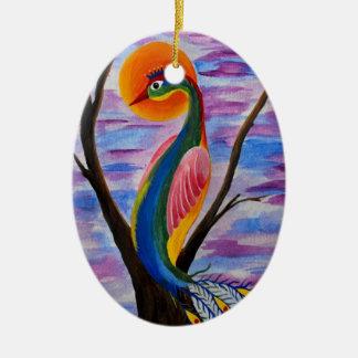 Solitary bird ceramic ornament